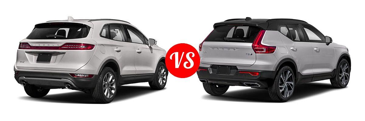 2019 Lincoln MKC SUV Black Label / FWD / Reserve / Select / Standard vs. 2019 Volvo XC40 SUV R-Design - Rear Right Comparison