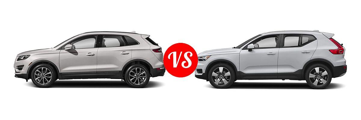 2019 Lincoln MKC SUV Black Label / FWD / Reserve / Select / Standard vs. 2019 Volvo XC40 SUV Momentum / R-Design - Side Comparison
