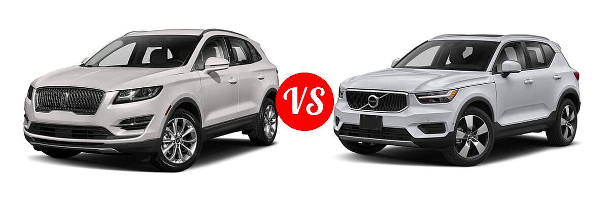 2019 Lincoln MKC SUV Black Label / FWD / Reserve / Select / Standard vs. 2019 Volvo XC40 SUV Momentum / R-Design - Front Left Comparison