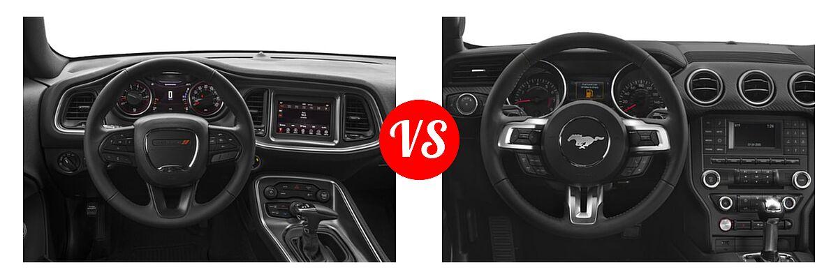 2019 Dodge Challenger Coupe GT / SXT vs. 2019 Ford Mustang Coupe EcoBoost / EcoBoost Premium / GT / GT Premium - Dashboard Comparison