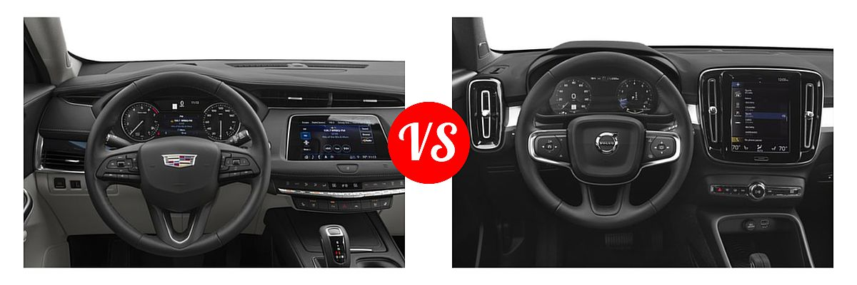 2019 Cadillac XT4 SUV AWD Luxury / AWD Premium Luxury / AWD Sport / FWD Luxury / FWD Premium Luxury / FWD Sport vs. 2019 Volvo XC40 SUV Momentum / R-Design - Dashboard Comparison