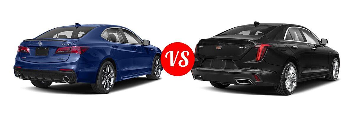 2019 Acura TLX Sedan w/A-SPEC Pkg vs. 2021 Cadillac CT4 Sedan Luxury / Premium Luxury / Sport / V-Series - Rear Right Comparison