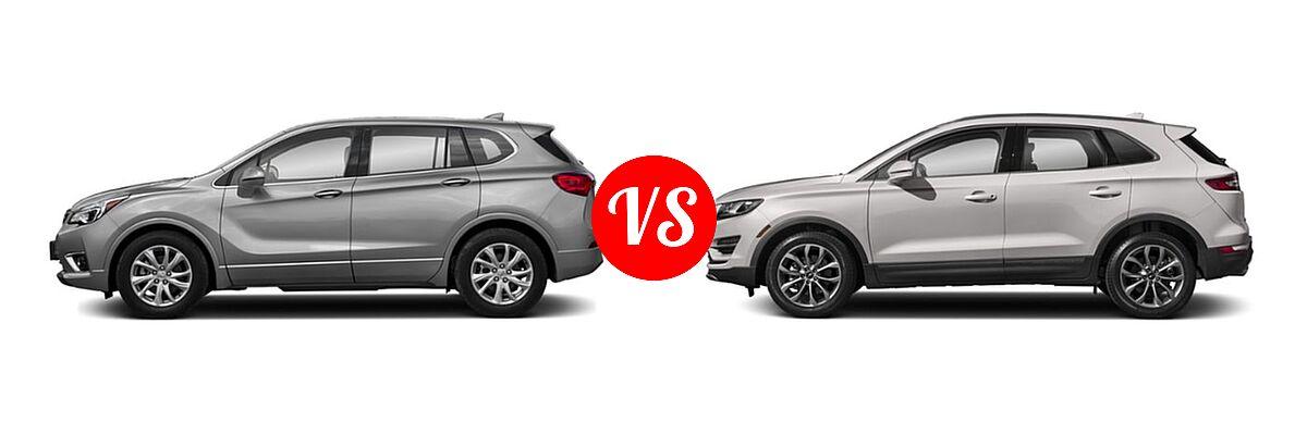 2019 Buick Envision SUV Essence / FWD 4dr / Preferred / Premium / Premium II vs. 2019 Lincoln MKC SUV Black Label / FWD / Reserve / Select / Standard - Side Comparison