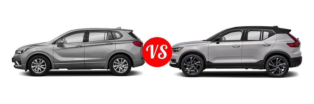 2019 Buick Envision SUV Essence / FWD 4dr / Preferred / Premium / Premium II vs. 2019 Volvo XC40 SUV R-Design - Side Comparison