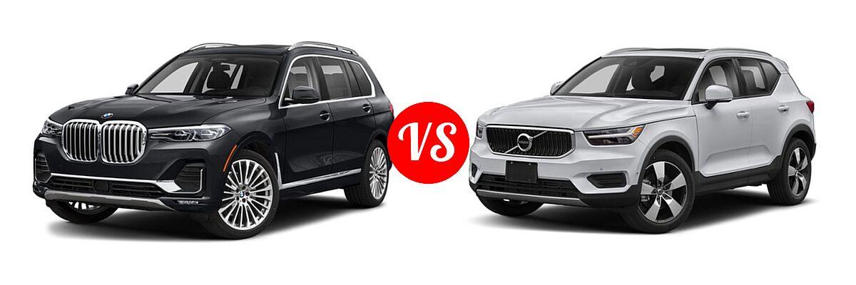 2019 BMW X7 SUV xDrive40i / xDrive50i vs. 2019 Volvo XC40 SUV Momentum / R-Design - Front Left Comparison