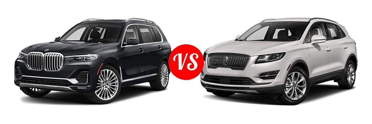 2019 BMW X7 SUV xDrive40i / xDrive50i vs. 2019 Lincoln MKC SUV Black Label / FWD / Reserve / Select / Standard - Front Left Comparison