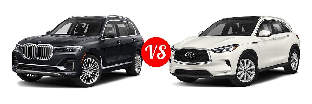 2019 BMW X7 SUV xDrive40i / xDrive50i vs. 2019 Infiniti QX50 SUV ESSENTIAL / LUXE / PURE - Front Left Comparison