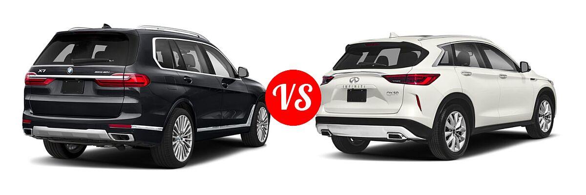 2019 BMW X7 SUV xDrive40i / xDrive50i vs. 2019 Infiniti QX50 SUV ESSENTIAL / LUXE / PURE - Rear Right Comparison