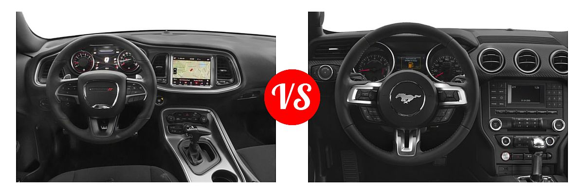 2019 Dodge Challenger Coupe R/T Scat Pack vs. 2019 Ford Mustang Coupe EcoBoost / EcoBoost Premium / GT / GT Premium - Dashboard Comparison