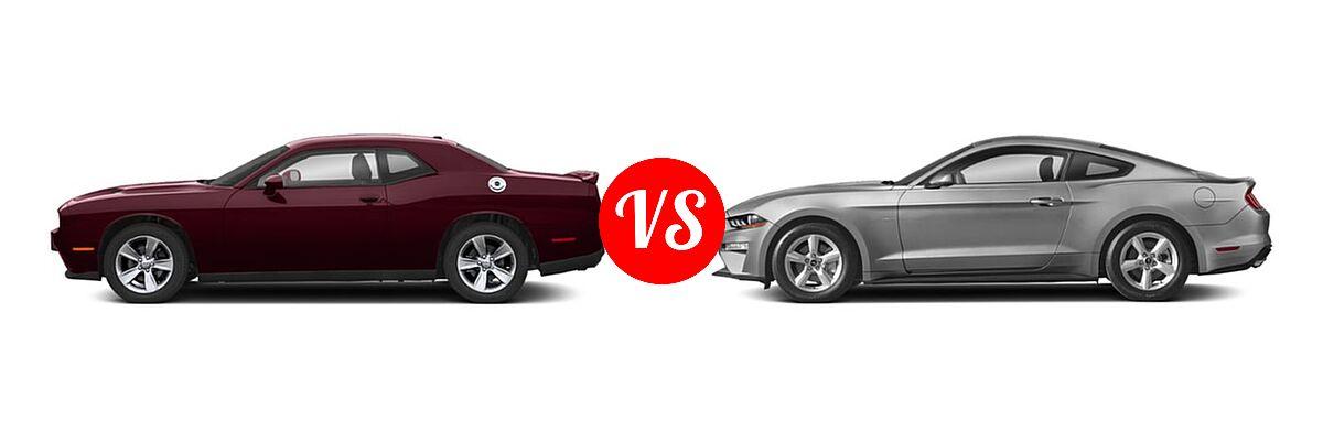 2019 Dodge Challenger Coupe GT / SXT vs. 2019 Ford Mustang Coupe EcoBoost / EcoBoost Premium / GT / GT Premium - Side Comparison