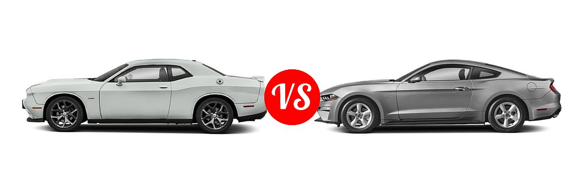2019 Dodge Challenger Coupe R/T vs. 2019 Ford Mustang Coupe EcoBoost / EcoBoost Premium / GT / GT Premium - Side Comparison