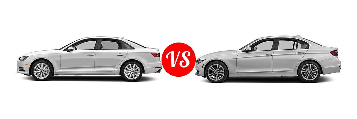 2018 Audi A4 Sedan Premium / Premium Plus / Prestige vs. 2018 BMW 3 Series Sedan Diesel 328d / 328d xDrive - Side Comparison