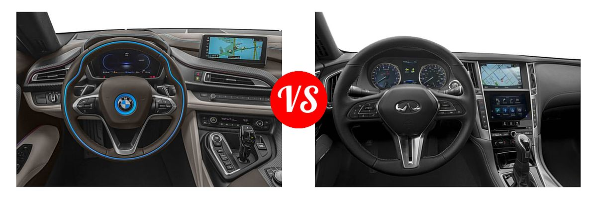 2019 BMW i8 Coupe PHEV Coupe vs. 2019 Infiniti Q60 Red Sport 400 Coupe RED SPORT 400 - Dashboard Comparison