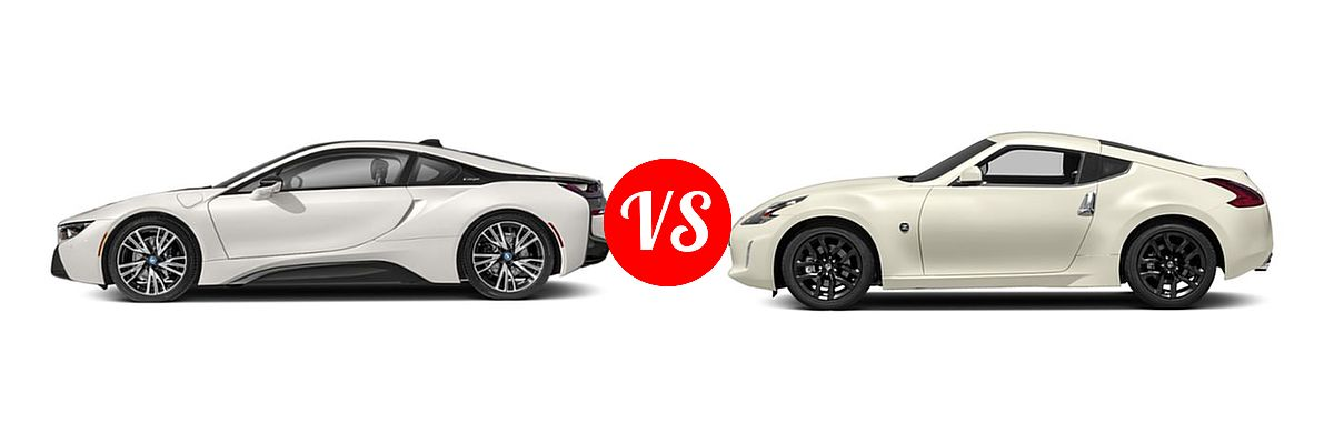 2019 BMW i8 Coupe PHEV Coupe vs. 2019 Nissan 370Z Coupe Auto / Manual / Sport / Sport Touring - Side Comparison