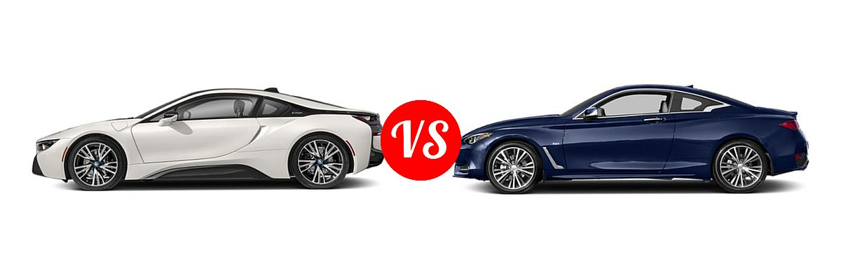 2019 BMW i8 Coupe PHEV Coupe vs. 2019 Infiniti Q60 Red Sport 400 Coupe RED SPORT 400 - Side Comparison