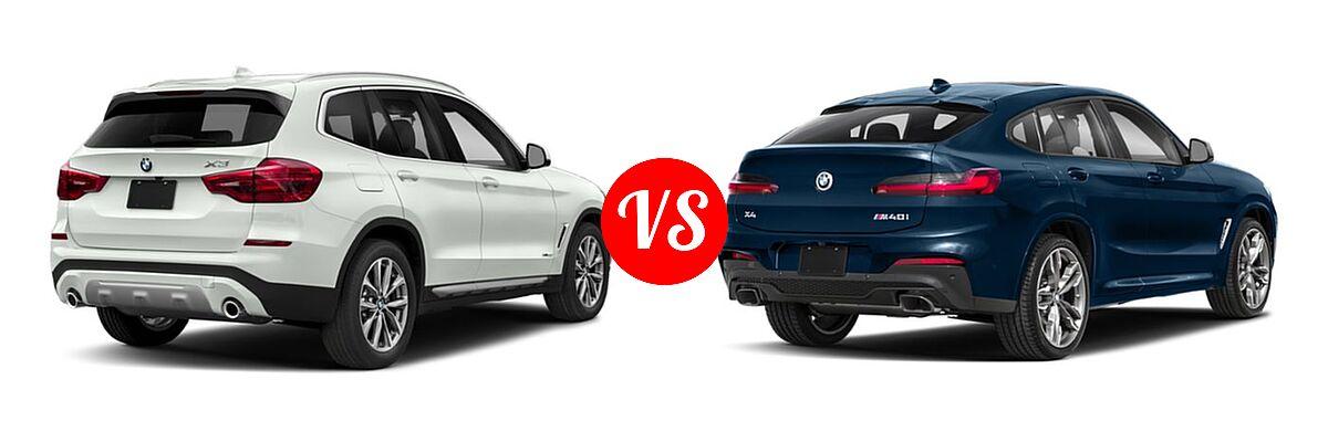 2019 BMW X3 SUV sDrive30i / xDrive30i vs. 2019 BMW X4 M40i SUV M40i - Rear Right Comparison