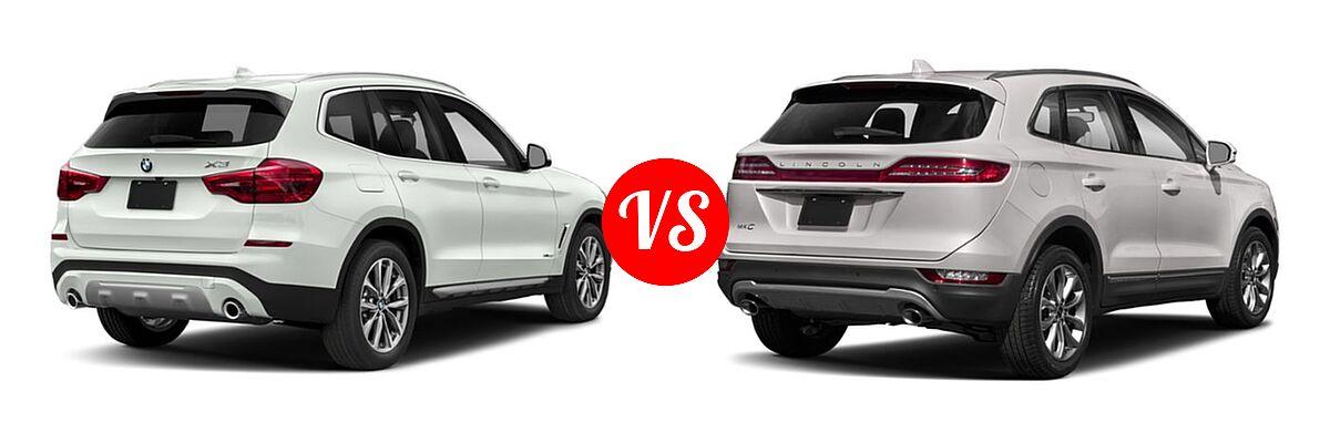 2019 BMW X3 SUV sDrive30i / xDrive30i vs. 2019 Lincoln MKC SUV Black Label / FWD / Reserve / Select / Standard - Rear Right Comparison