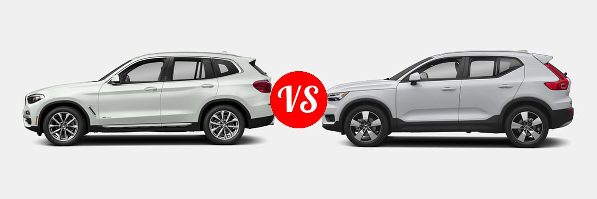 2019 BMW X3 SUV sDrive30i / xDrive30i vs. 2019 Volvo XC40 SUV Momentum / R-Design - Side Comparison