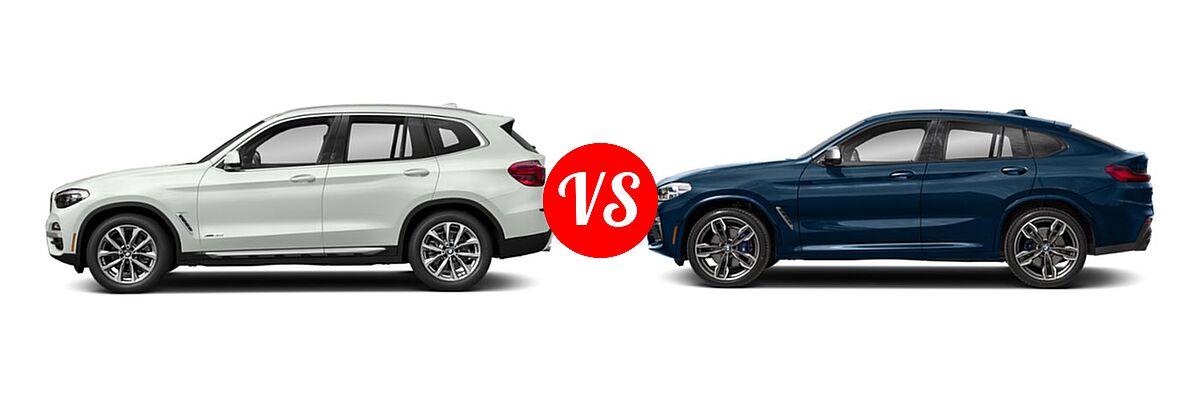 2019 BMW X3 SUV sDrive30i / xDrive30i vs. 2019 BMW X4 M40i SUV M40i - Side Comparison