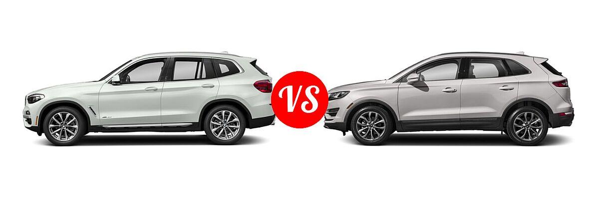 2019 BMW X3 SUV sDrive30i / xDrive30i vs. 2019 Lincoln MKC SUV Black Label / FWD / Reserve / Select / Standard - Side Comparison