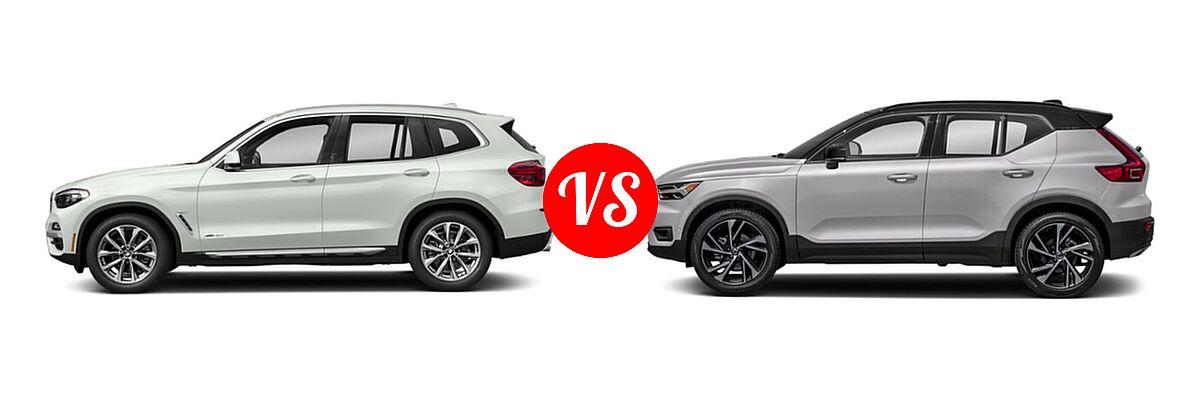 2019 BMW X3 SUV sDrive30i / xDrive30i vs. 2019 Volvo XC40 SUV R-Design - Side Comparison