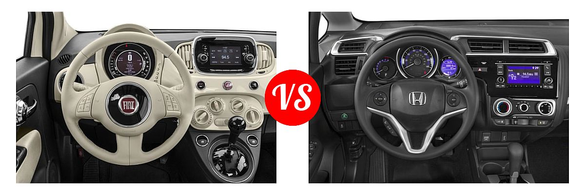 2019 FIAT 500 Hatchback Lounge / Pop vs. 2019 Honda Fit Hatchback LX - Dashboard Comparison