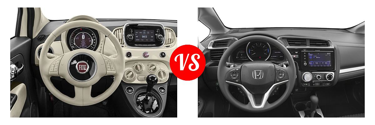 2019 FIAT 500 Hatchback Lounge / Pop vs. 2019 Honda Fit Hatchback EX - Dashboard Comparison