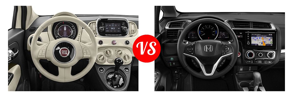 2019 FIAT 500 Hatchback Lounge / Pop vs. 2019 Honda Fit Hatchback EX-L - Dashboard Comparison