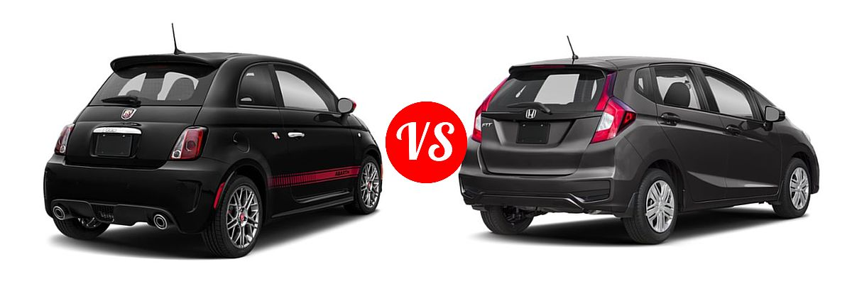 2019 FIAT 500 Hatchback Lounge / Pop vs. 2019 Honda Fit Hatchback LX - Rear Right Comparison