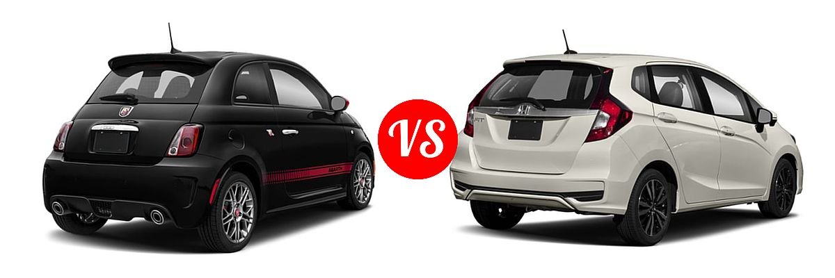 2019 FIAT 500 Hatchback Lounge / Pop vs. 2019 Honda Fit Hatchback EX-L - Rear Right Comparison