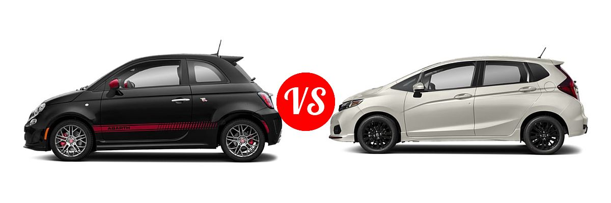 2019 FIAT 500 Hatchback Abarth vs. 2019 Honda Fit Hatchback Sport - Side Comparison