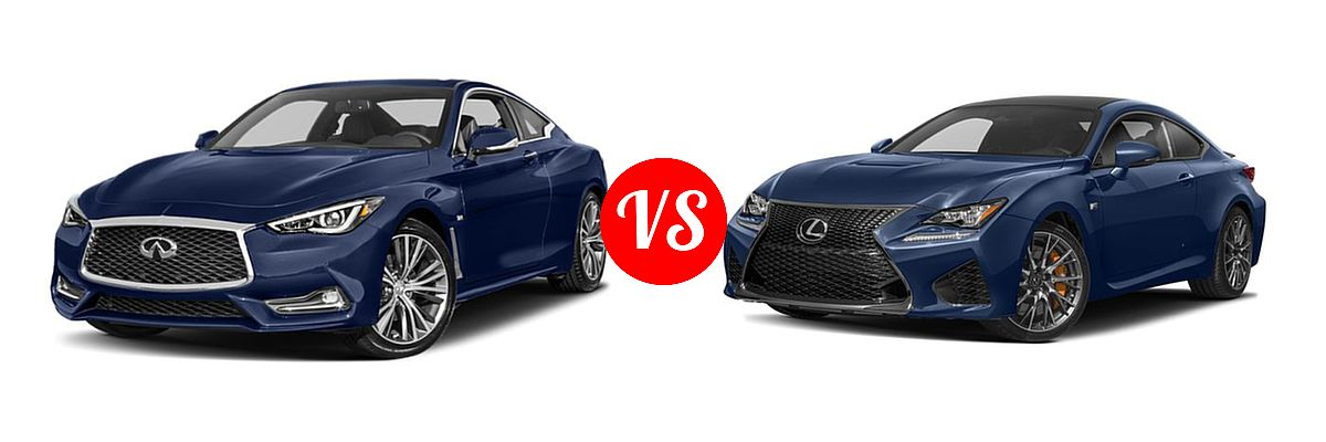 2019 Infiniti Q60 Red Sport 400 Coupe RED SPORT 400 vs. 2018 Lexus RC F Coupe RWD - Front Left Comparison