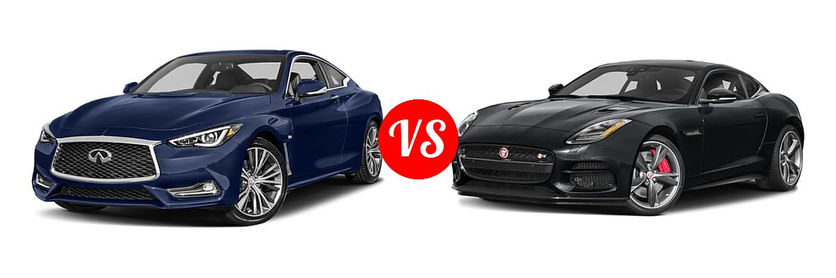 2019 Infiniti Q60 Red Sport 400 Coupe RED SPORT 400 vs. 2018 Jaguar F-TYPE Coupe R-Dynamic - Front Left Comparison