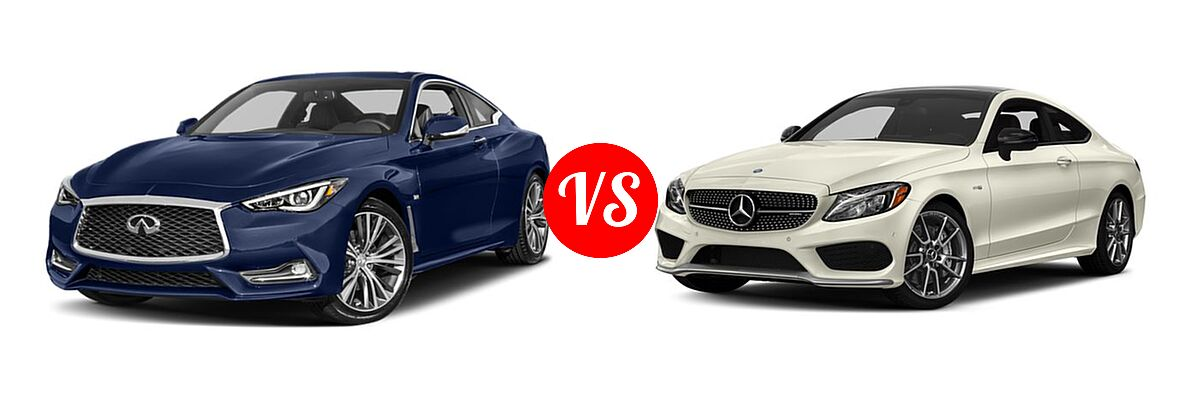 2019 Infiniti Q60 Red Sport 400 Coupe RED SPORT 400 vs. 2018 Mercedes-Benz C-Class AMG C 43 Coupe AMG C 43 - Front Left Comparison