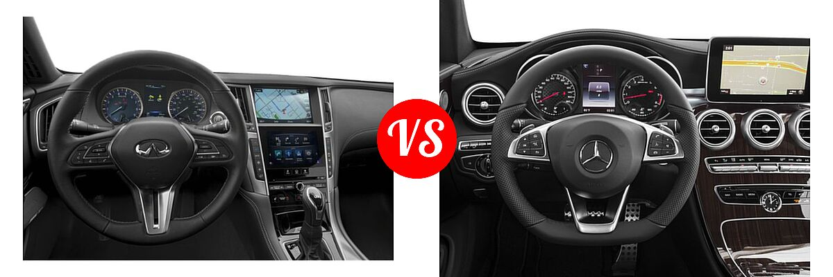 2019 Infiniti Q60 Red Sport 400 Coupe RED SPORT 400 vs. 2018 Mercedes-Benz C-Class AMG C 43 Coupe AMG C 43 - Dashboard Comparison