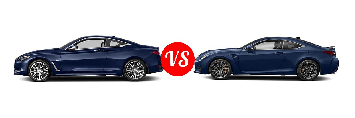 2019 Infiniti Q60 Red Sport 400 Coupe RED SPORT 400 vs. 2018 Lexus RC F Coupe RWD - Side Comparison