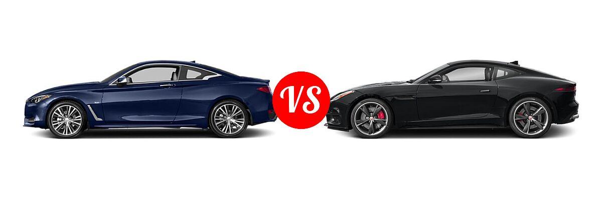 2019 Infiniti Q60 Red Sport 400 Coupe RED SPORT 400 vs. 2018 Jaguar F-TYPE Coupe R-Dynamic - Side Comparison