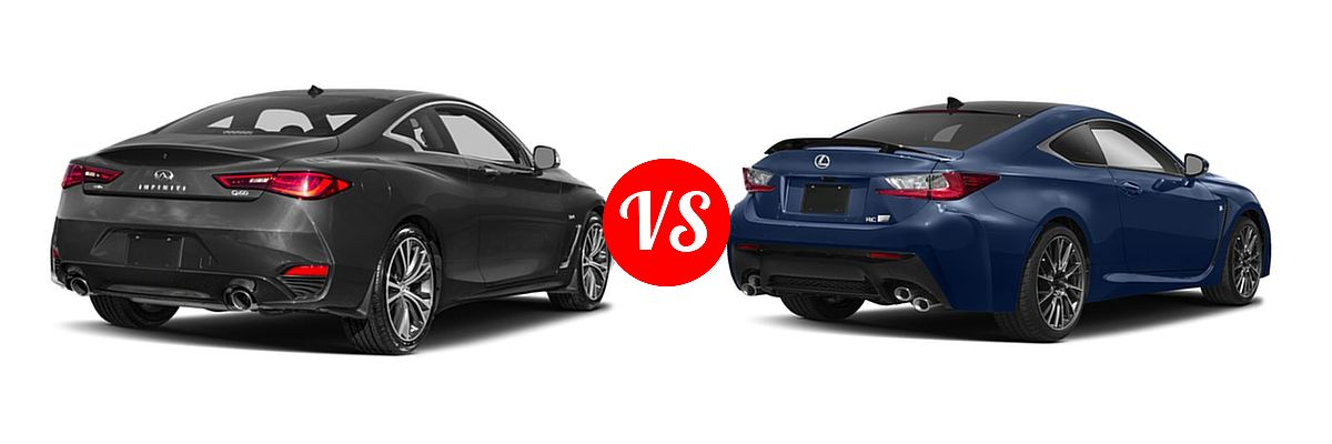 2019 Infiniti Q60 Red Sport 400 Coupe RED SPORT 400 vs. 2018 Lexus RC F Coupe RWD - Rear Right Comparison