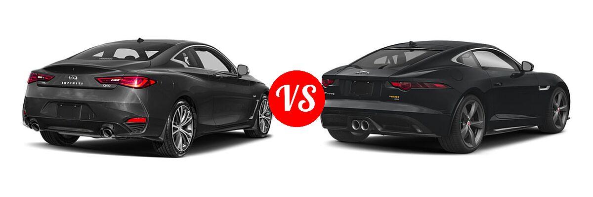 2019 Infiniti Q60 Red Sport 400 Coupe RED SPORT 400 vs. 2018 Jaguar F-TYPE Coupe 400 Sport - Rear Right Comparison