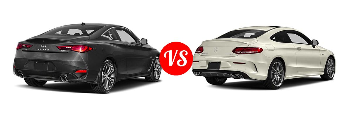 2019 Infiniti Q60 Red Sport 400 Coupe RED SPORT 400 vs. 2018 Mercedes-Benz C-Class AMG C 43 Coupe AMG C 43 - Rear Right Comparison