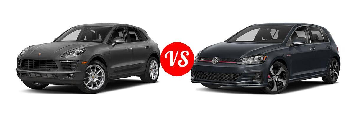 2017 Porsche Macan SUV AWD vs. 2018 Volkswagen Golf GTI Hatchback Autobahn / S / SE - Front Left Comparison
