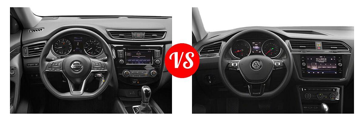2020 Nissan Rogue SUV S / SV vs. 2020 Volkswagen Tiguan SUV S / SE / SEL - Dashboard Comparison