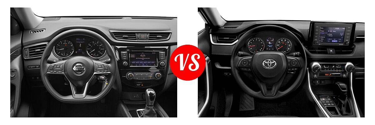 2020 Nissan Rogue SUV S / SV vs. 2020 Toyota RAV4 SUV LE - Dashboard Comparison