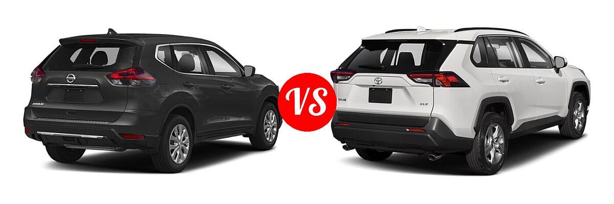 2020 Nissan Rogue SUV S / SV vs. 2020 Toyota RAV4 SUV XLE / XLE Premium - Rear Right Comparison