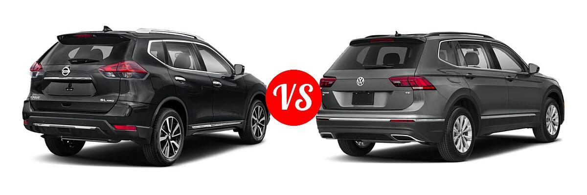 2020 Nissan Rogue SUV SL vs. 2020 Volkswagen Tiguan SUV S / SE / SEL - Rear Right Comparison