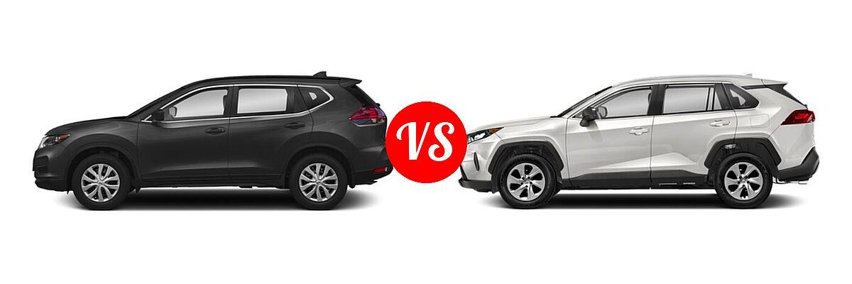 2020 Nissan Rogue SUV S / SV vs. 2020 Toyota RAV4 SUV LE - Side Comparison