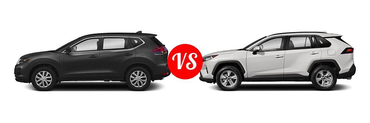 2020 Nissan Rogue SUV S / SV vs. 2020 Toyota RAV4 SUV XLE / XLE Premium - Side Comparison