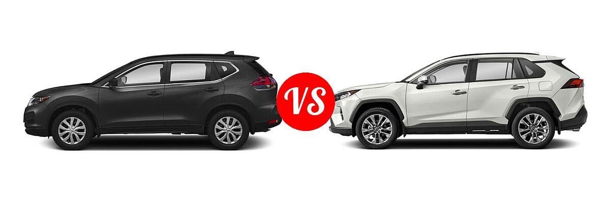 2020 Nissan Rogue SUV S / SV vs. 2020 Toyota RAV4 SUV Limited - Side Comparison