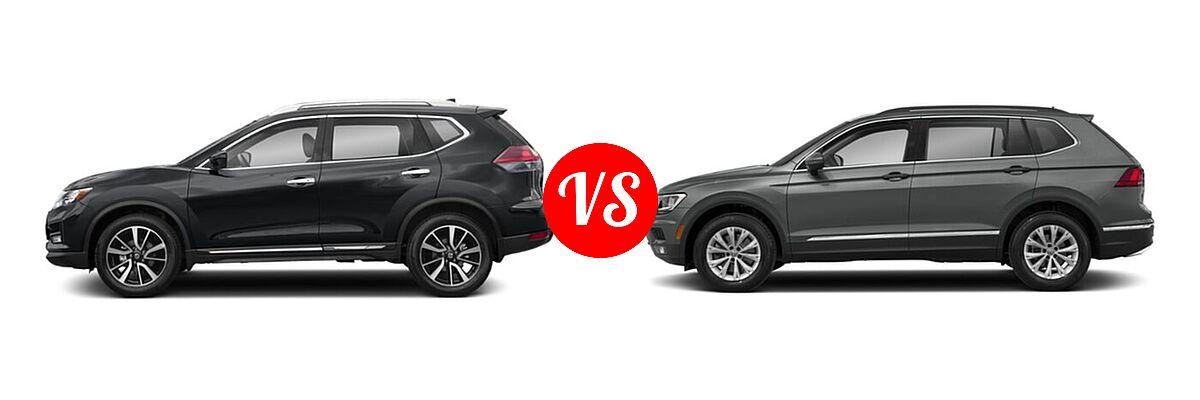 2020 Nissan Rogue SUV SL vs. 2020 Volkswagen Tiguan SUV S / SE / SEL - Side Comparison