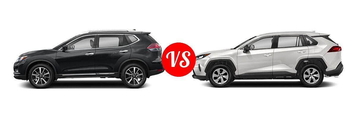 2020 Nissan Rogue SUV SL vs. 2020 Toyota RAV4 SUV LE - Side Comparison